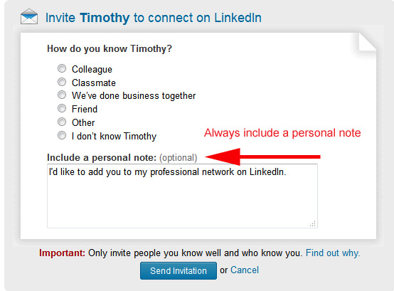 A LinkedIn invitation